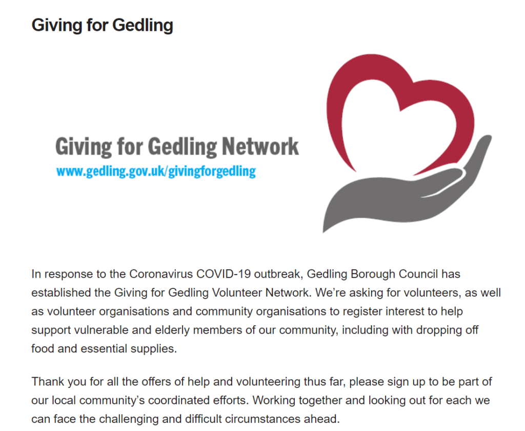 Picture of the Giving for Gedling webpage. Please forllow the link above or below for the content of this image.