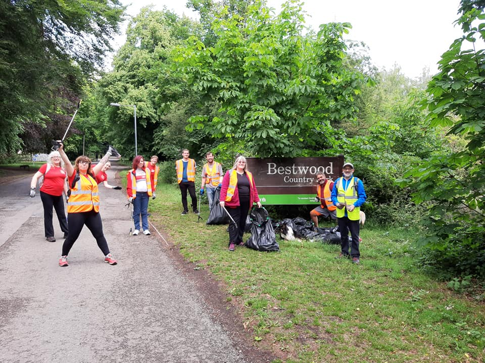 Litter pickers posing for picture near Bestwood Country Park
