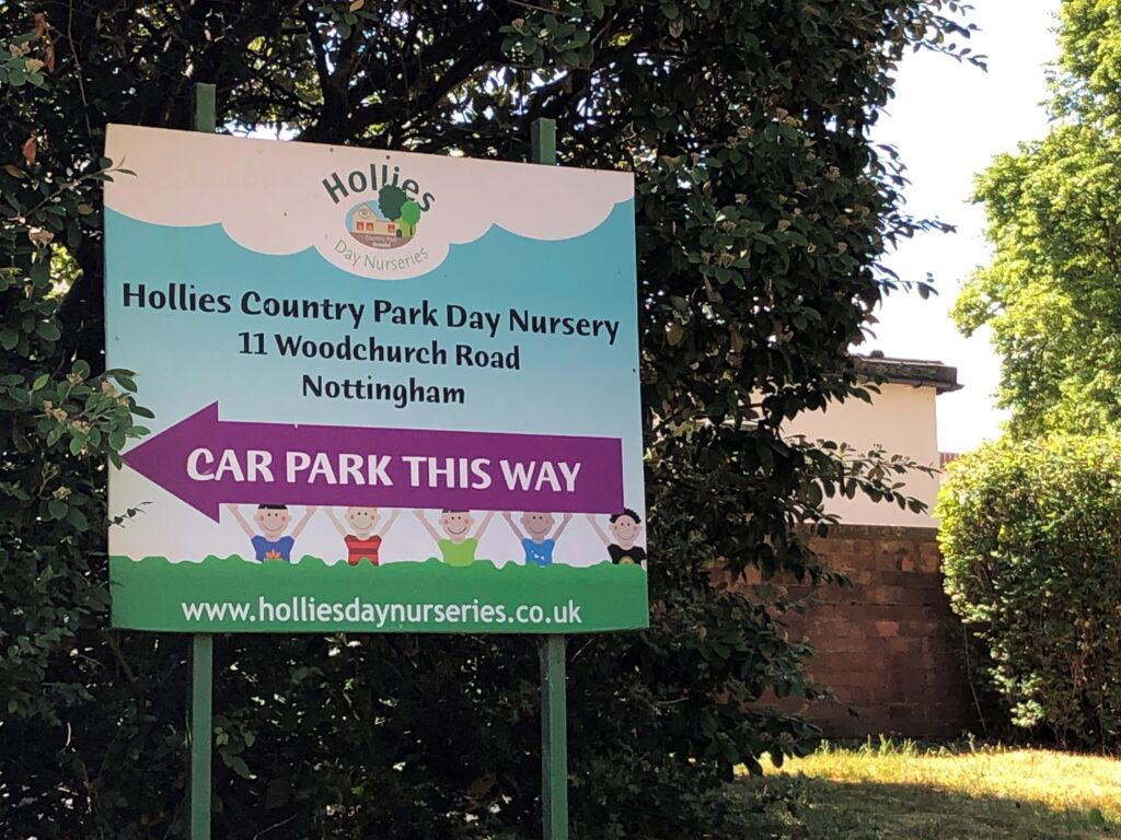 Hollies nursery sign