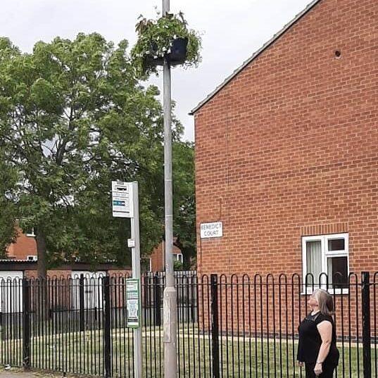 Hanging basket on lamppost