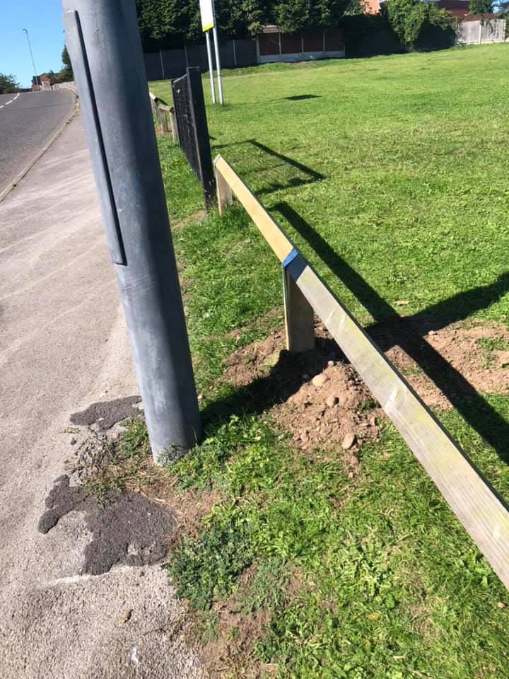 Repaired fence at Muirfield Park