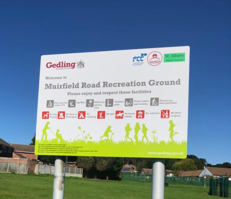 New sign at Muirfield Park