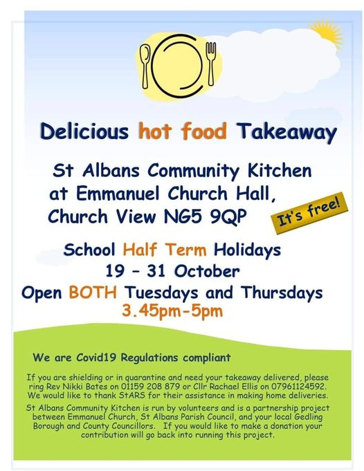 Hot food takeaway during Half-term at Community Kitchen, Emmanuel church hall, Tues & Thurs 3:45-5pm 19-31 Oct